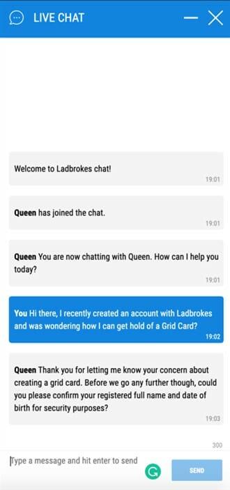 Ladbrokes Live Chat