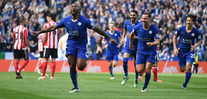 Leicester City celebrates victory against Southampton