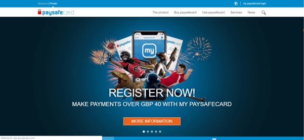 PaySafeCard Homepage