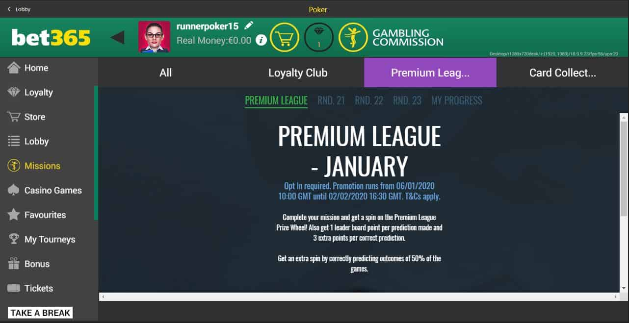 Bet365 Premium League homepage
