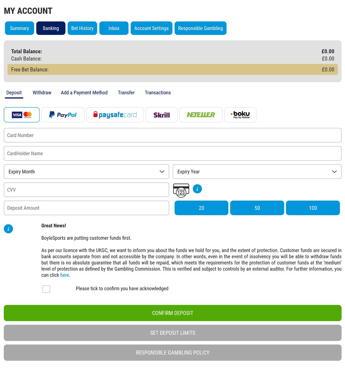 BoyleSports Deposit Page