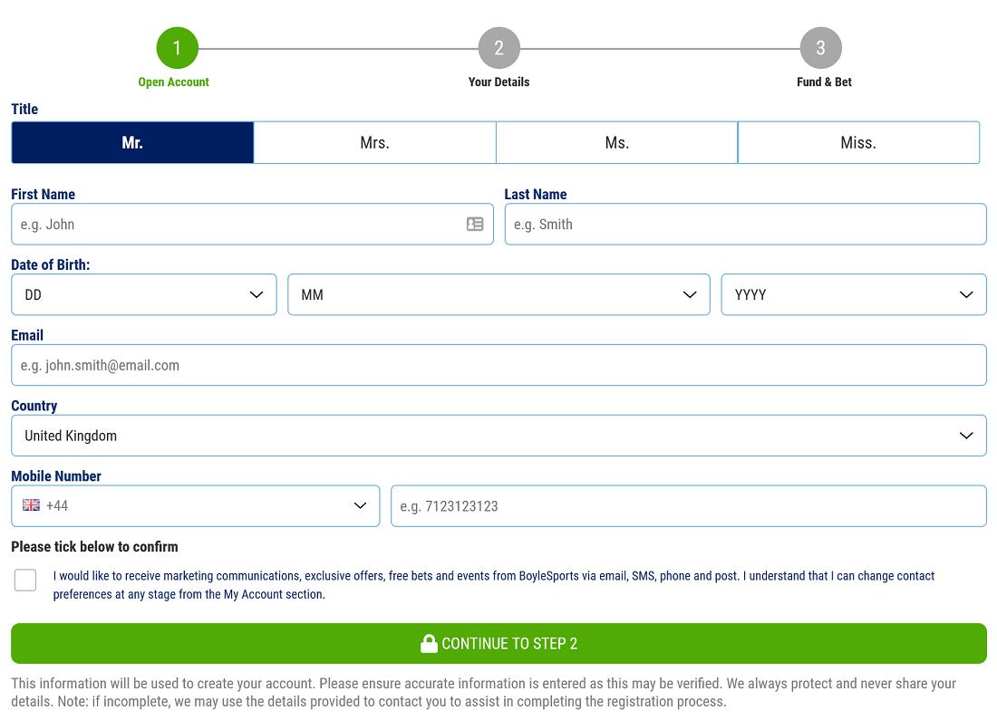 BoyleSports Registration Form
