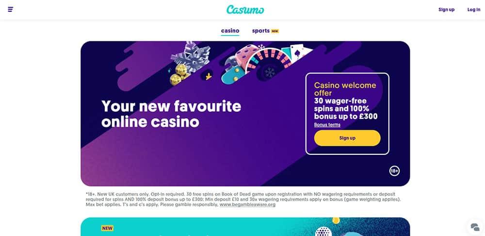 Casumo casino site homepage - New UK Bookmakers