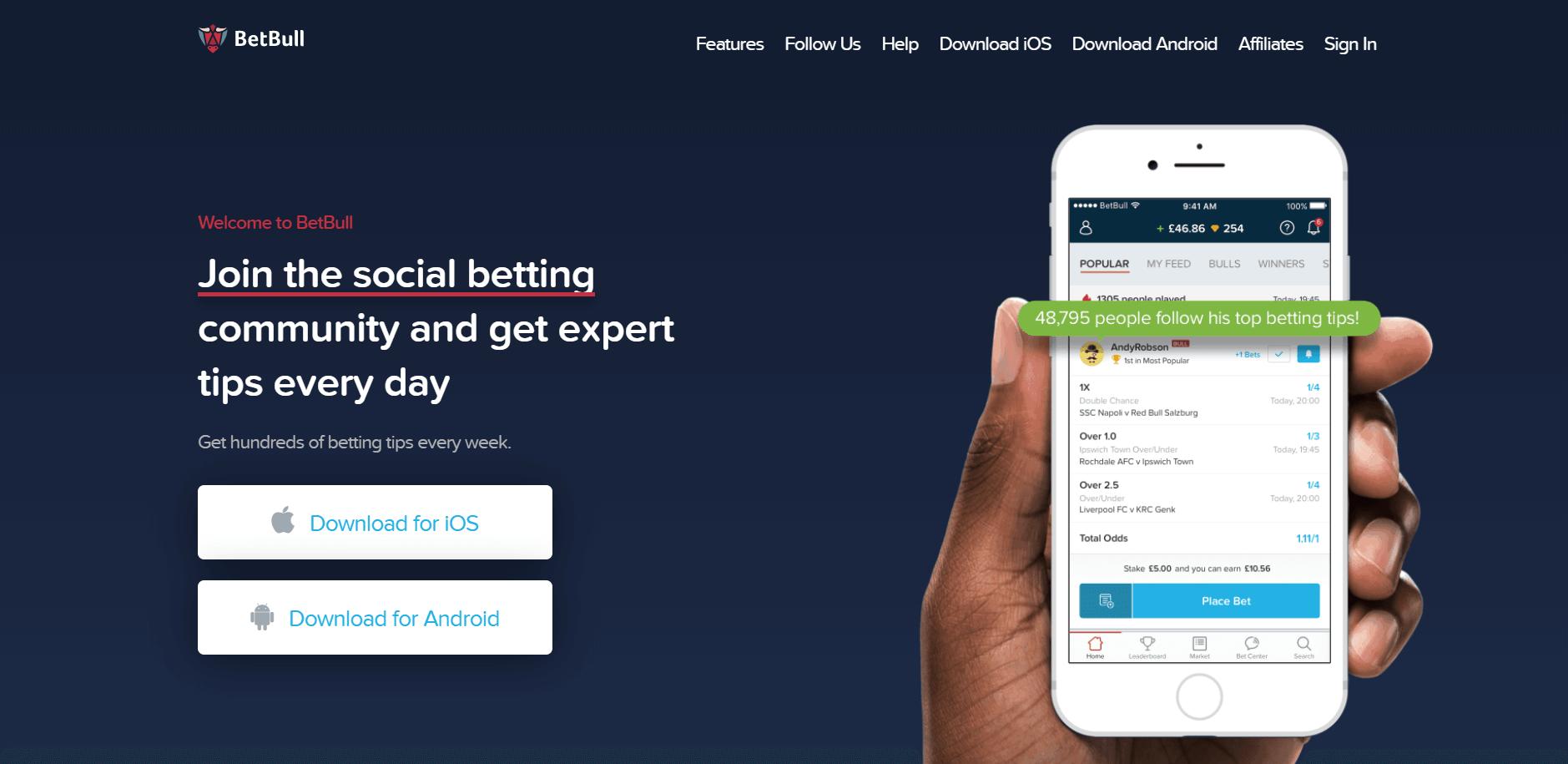 Betbull social betting app homepage