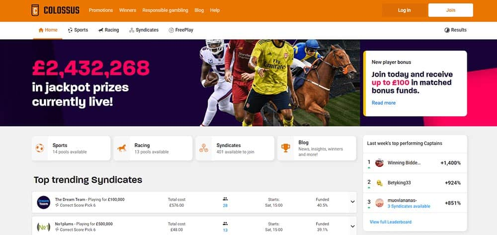 Collosus Bets sportsbook homepage