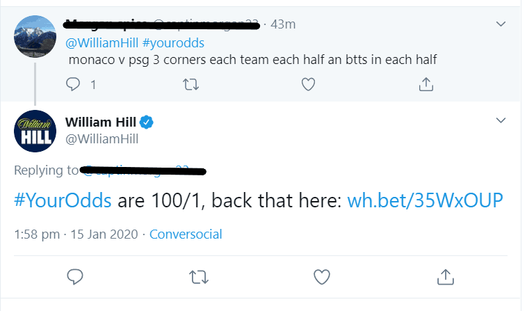 William Hill request a bet twitter
