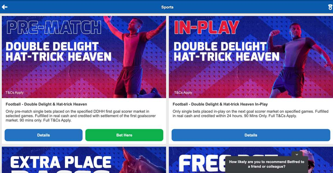 Betfred Sportsbook Promotions