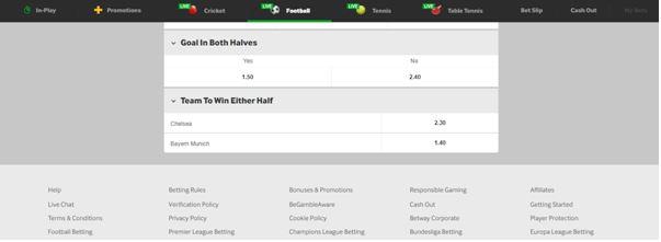 Half Betting Odds