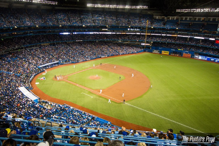 baseball stadium and players in the field