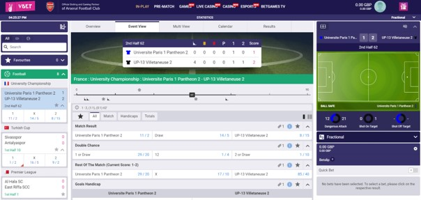 Vbet In-play Betting
