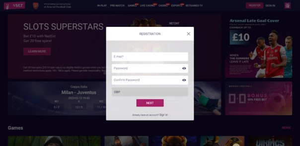 Vbet Registration Process 1 - Vbet Sports Betting Review