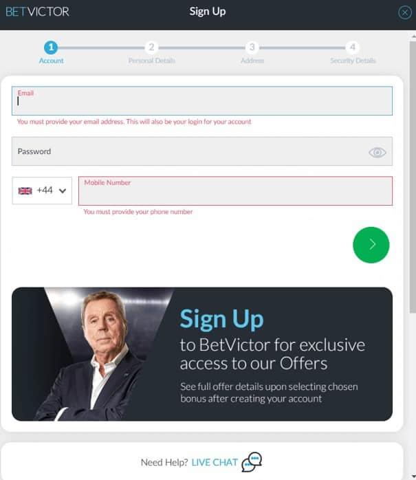 BetVictor - Registration Form 1