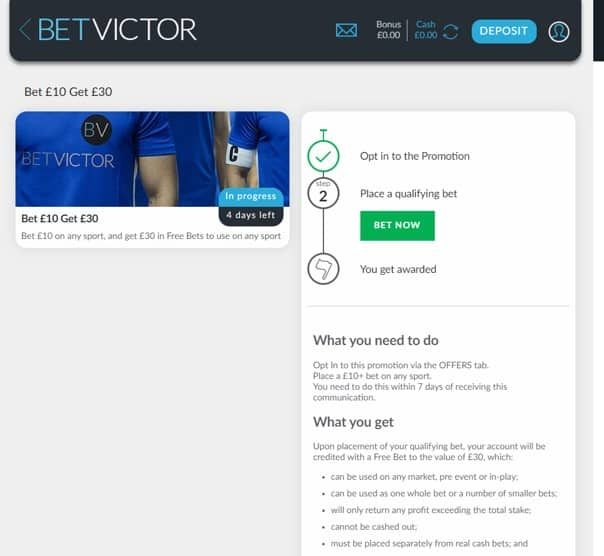 BetVictor - Promotion Example 1