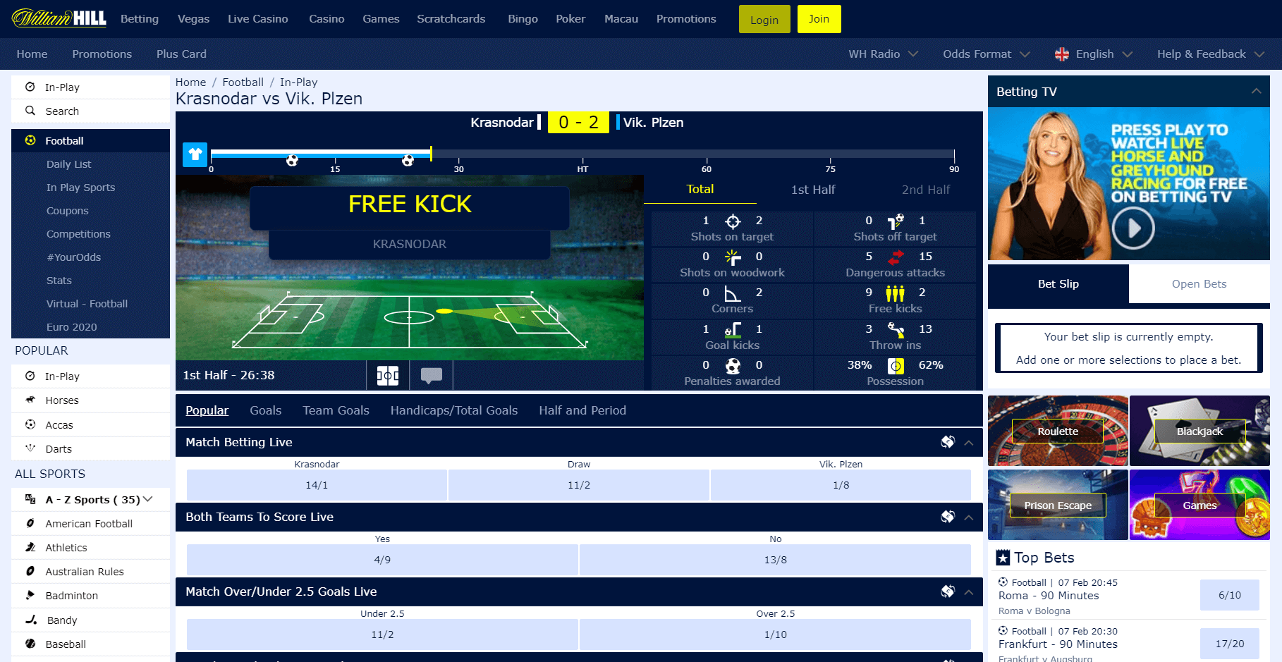 in-play sports