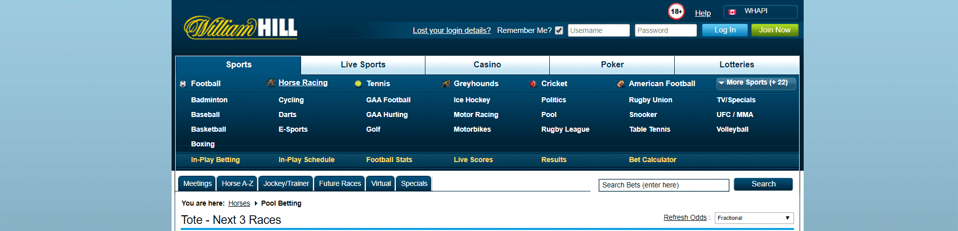 Pool Betting at William Hill
