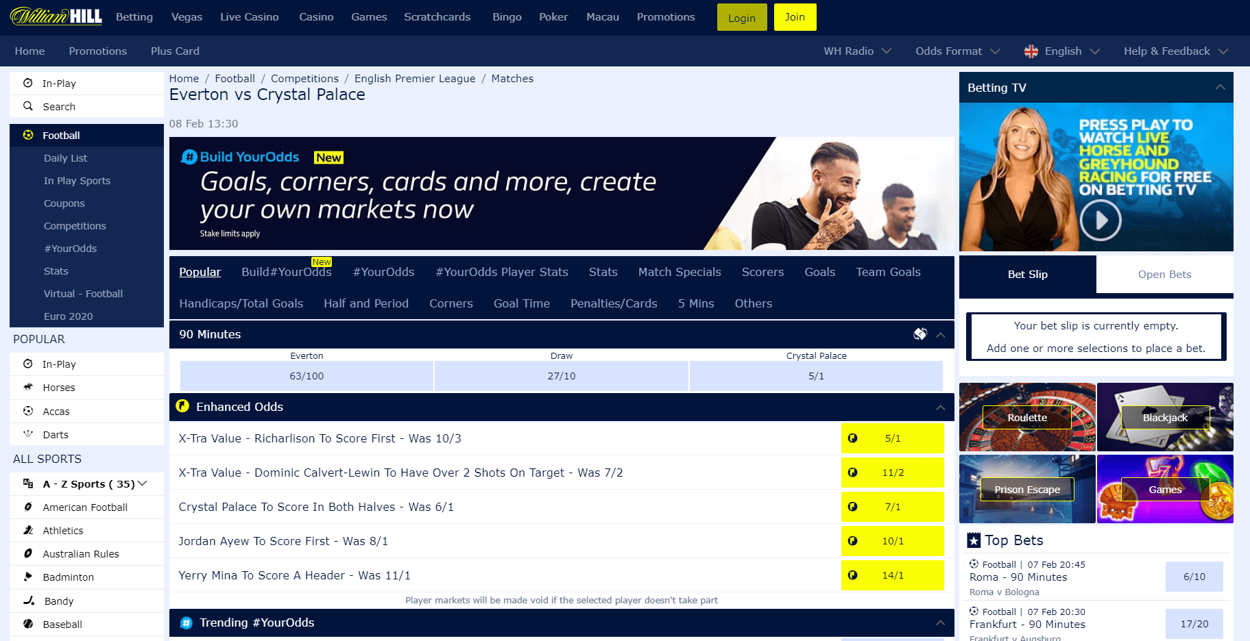 william hill sports offering