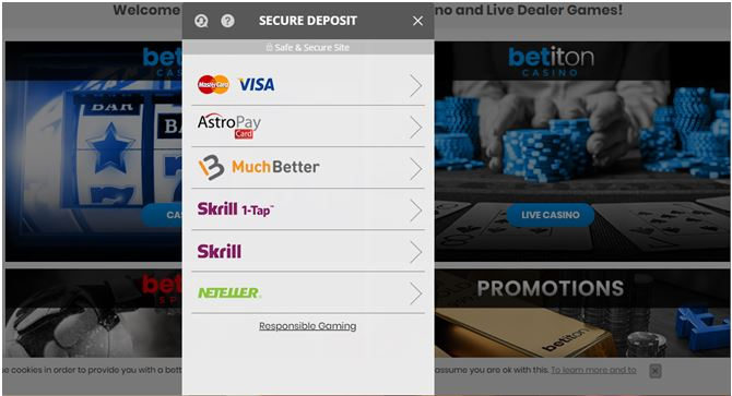 Payment methods at Betiton