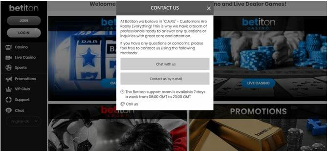 Betiton Contact Us window