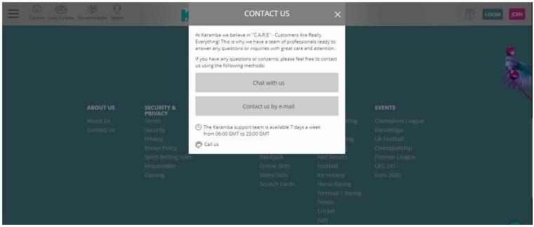 Karamba's Contact Us window