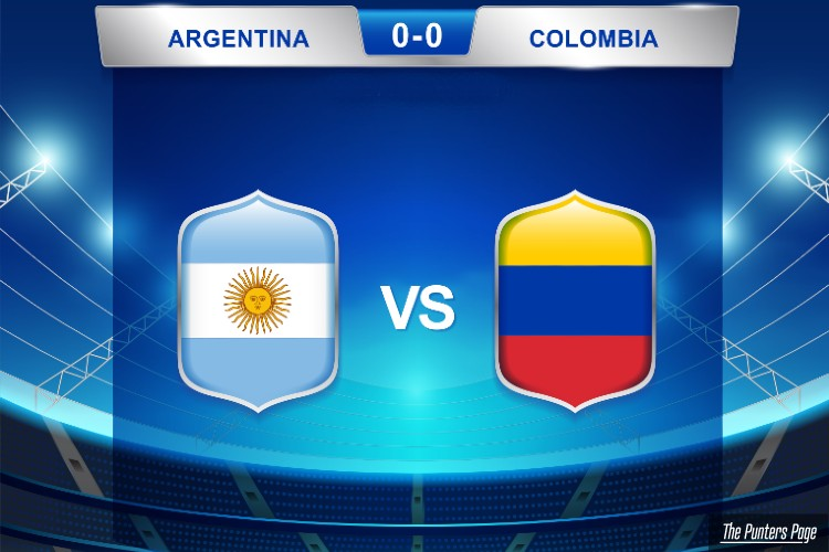 A Draw between Argentina and Colombia scoreboard