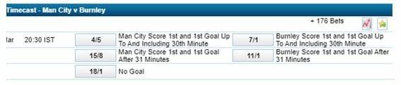 Goalscorer Timecast betting - Man City vs Burnley