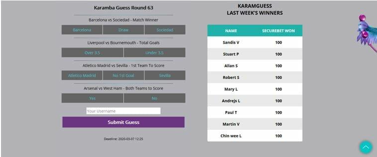 KaramGuess last week's winners board