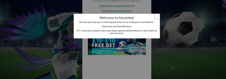 Welcome message from Karamba
