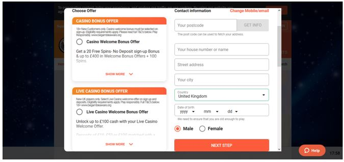LeoVegas Registration Form