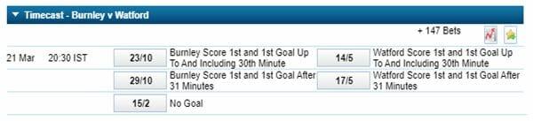 Timecast betting Burnley v Watford
