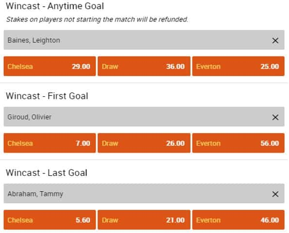 Wincast markets with odds displayed on 888sport
