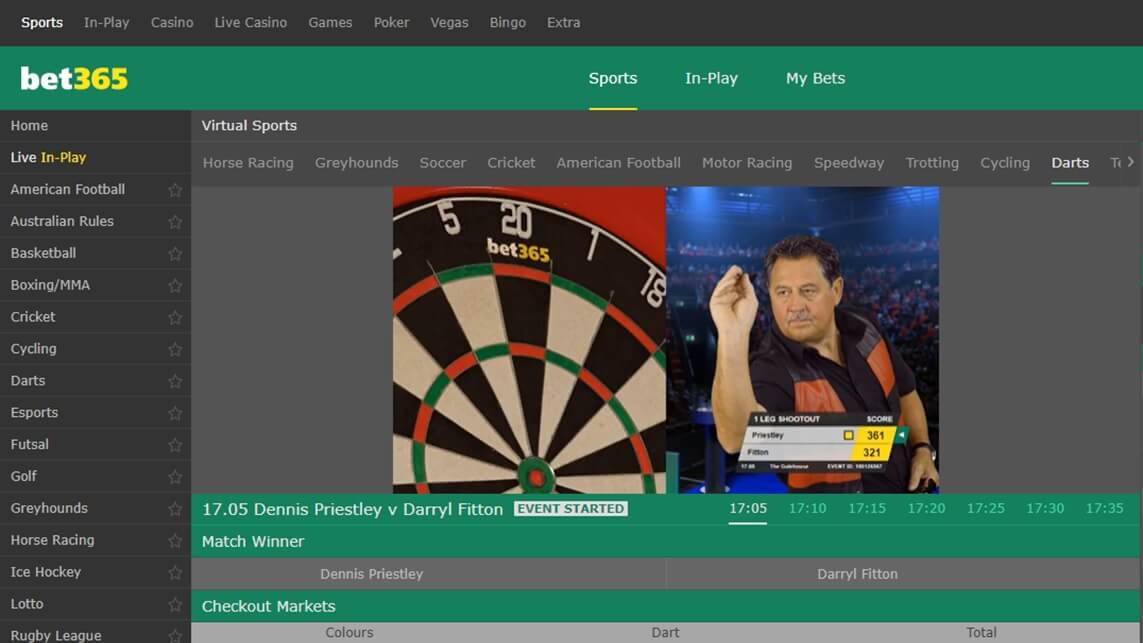 screenshot of bet365's virtual darts page
