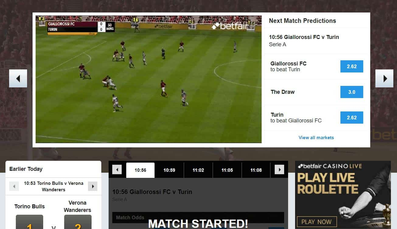 Next Match Predictions screenshot of virtual football game at Betfair