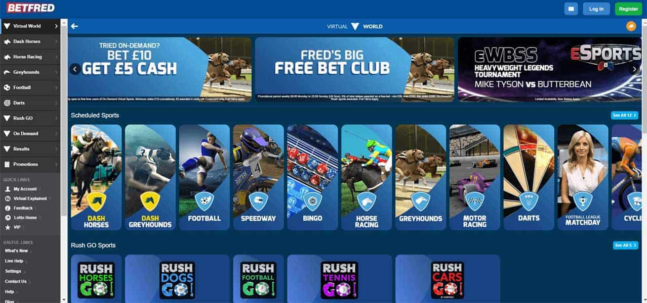 Screenshot of Betfred's Virtual homepage