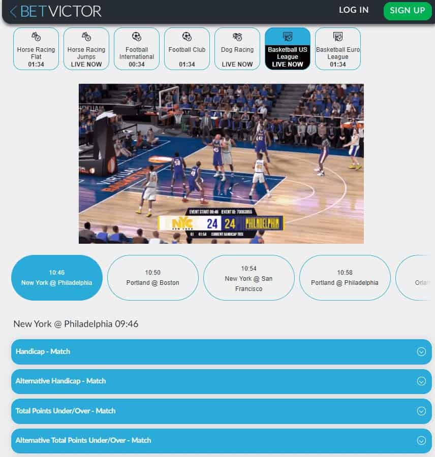 screenshot of virtual basketball betting at BetVictor