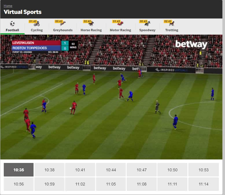 screenshot of virtual football betting at Betway
