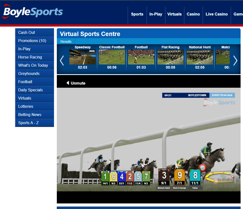 screenshot of virtual horse racing at BoyleSports