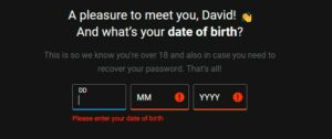 bwin Welcome Offer Date of Birth