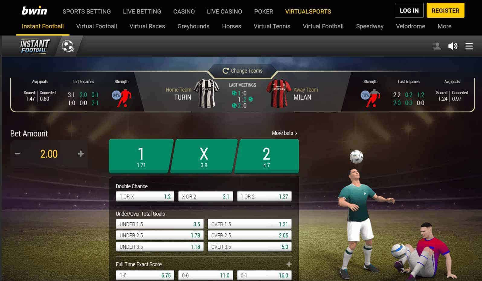 screenshot of virtual football betting at bwin