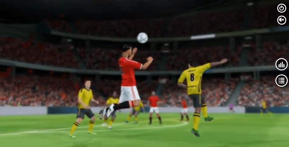 football player about to head the ball during a virtual match