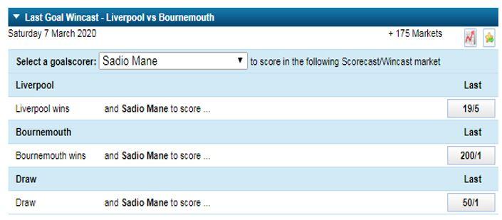 Last Goal Wincast market for Liverpool vs Bournemouth