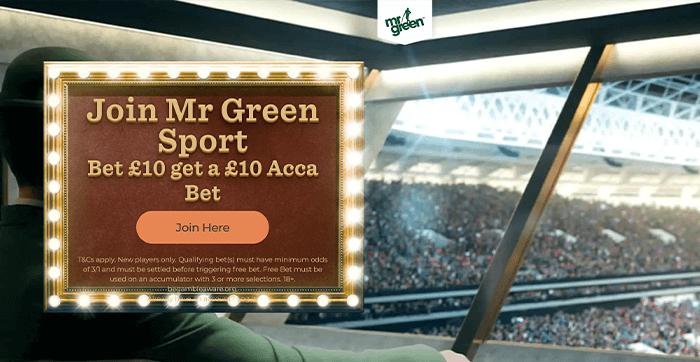 screenshot of mr green sign up offer