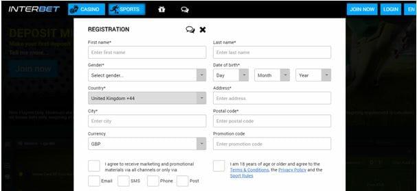 Interbet Registration Form Step 1
