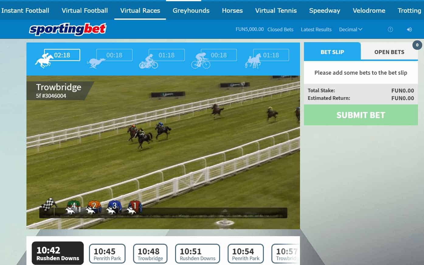 screenshot of virtual horse racing at Sportingbet