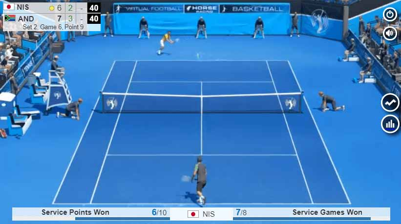 virtual tennis match underway with service points displayed at bottom of screen