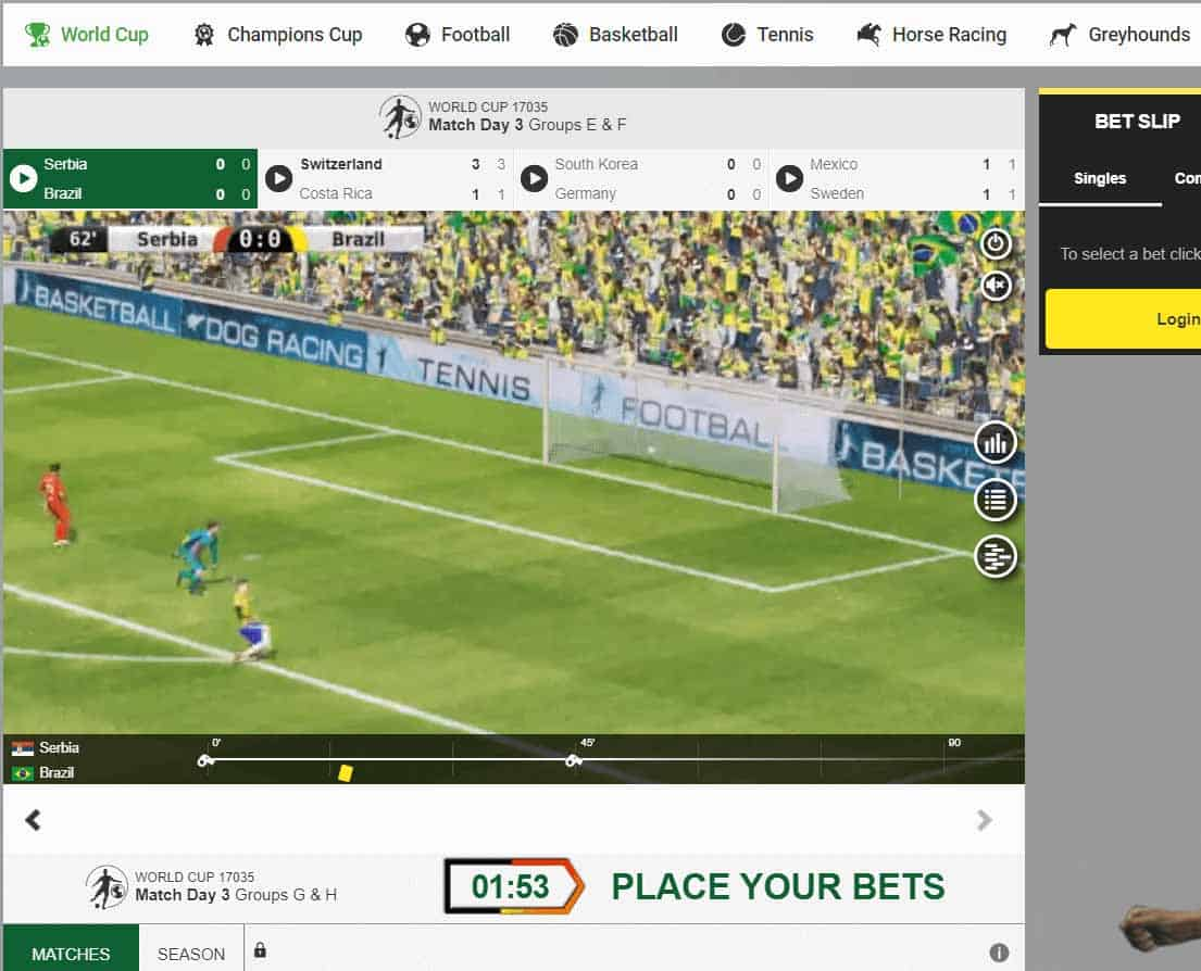 screenshot of virtual football betting at unibet