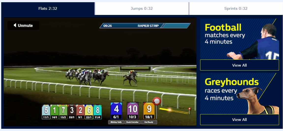 screenshot of virtual horse racing at William Hill