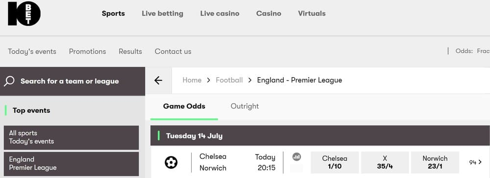 10bet Top events betting