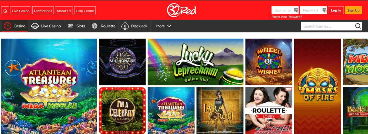 32 Red Casino Homepage