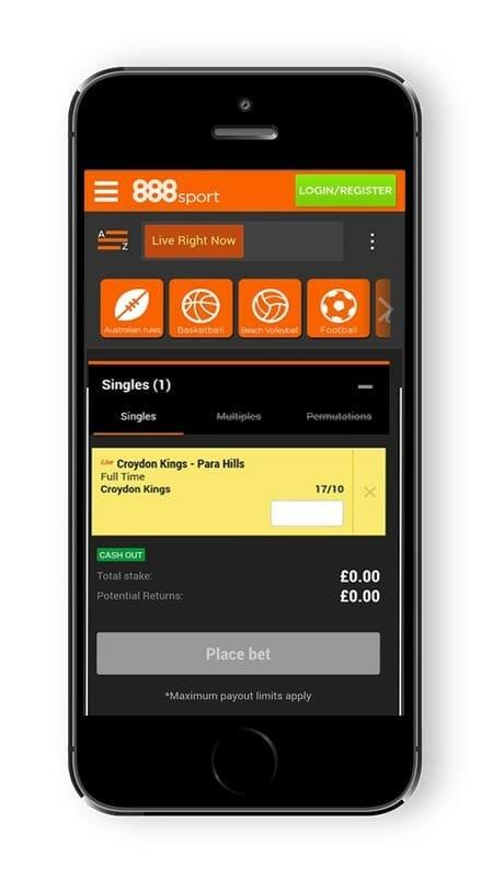 888sport mobile betslip screenshot