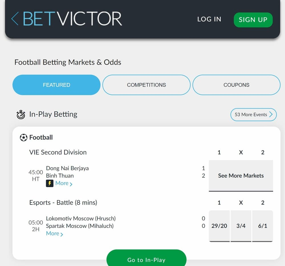 BetVictor In Play betting